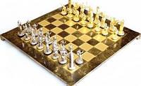 Шахматы в деревянном футляре с фигурами из латуни Троянская война 54*54 см S19BRO коричневый