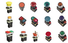Світлосигнальні індикатори, кнопки управління і перемикачі ІЕК