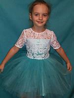 Детское нарядное кружевное платье нежная мята