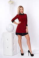 Короткое трикотажное платье с рубашечным воротником, красное