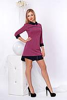 Короткое трикотажное платье с рубашечным воротником,розовое