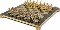 Шахматы в деревянном футляре с фигурами из латуни Геркулес 36*36 см S5BLU синий
