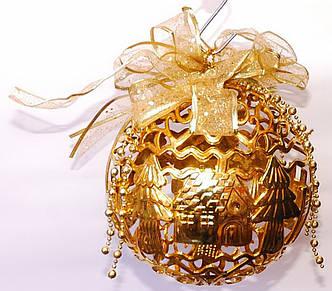 Новогодний резной шар | Золото | 20 см | 6 шт.