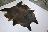 Богатая, шикарная коровья шкура темно коричневого цвета, фото 2