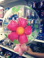 """Двойной пластиковый шар надутый гелием """"Цветок и бабочка"""""""