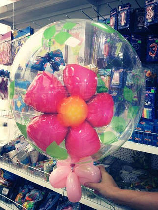 """Двойной пластиковый шар надутый гелием """"Цветок и бабочка"""", фото 2"""