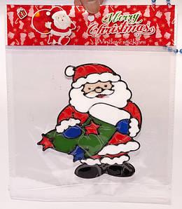"""Наклейка на стекло """"Санта с подарками в носке"""" (В упаковке 12 шт.)"""