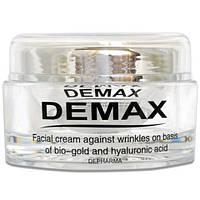 Крем для лица против морщин на основе биозолота и гиалуроновой кислоты Demax Facial Cream Against Wrinkles On