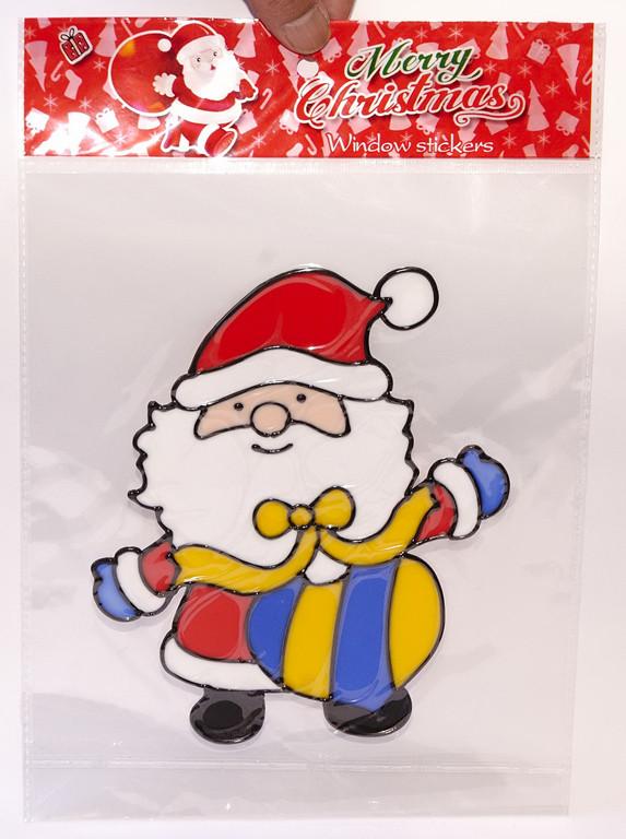 """Наклейка на стекло """"Санта с подарками в мешке"""" (В упаковке 12 шт.)"""