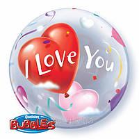 "Пластиковый шар надутый гелием ""I love you"""