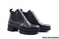 Ботинки женские кожаные Donna Ricco (ботильоны, стильные, каблук, нат. мех, антискользящая подошва, Турция)