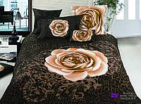 Постельное белье 3D шоколадное с розой