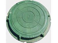 Люк полимерпесчаный круглый, в зеленом цвете нагрузка до  4,5т.
