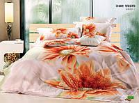 Постельное белье 3D сатин с оранжевыми цветами