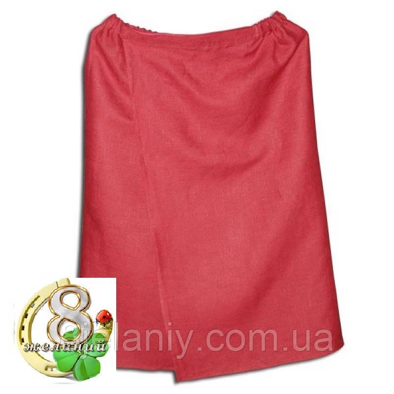 Парео льняное для бани и сауны (красное)