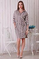 Клетчатое женское платье с рубашечным воротником