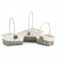 "Плетеные корзинки в стиле ""Прованс"" (27*22*35 см) цена за набор 3 шт."