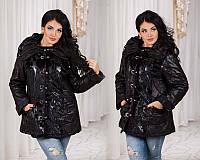Зимняя тёплая женская батальная куртка-дублёнка (DG-ат7090)