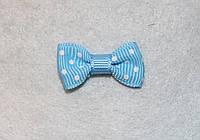 Бантик репсовый голубой в белый горошек  668 поштучно, фото 1