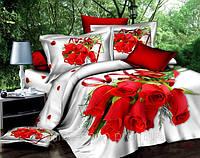 Постельное белье 3D со стилем розы красной