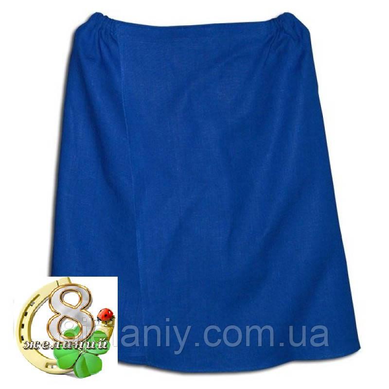 Парео льняное для бани и сауны (синее)