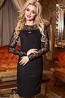 Удобное Красивое Нарядное Платье Черное Эко Замш Гипюр р. 42-50