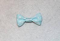Бантик репсовый светло-голубой в белый горошек  669 поштучно , фото 1