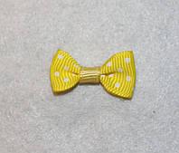 Бантик репсовый жёлтый в белый горошек 671 поштучно, фото 1