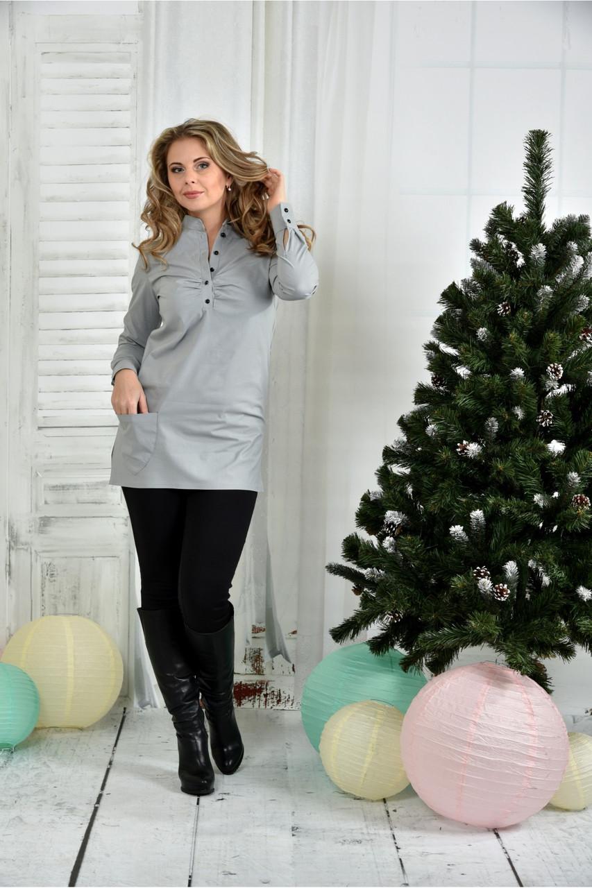 Женская удлиненная блуза больших размеров 0393  размер 42-74
