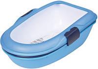 """Туалет Trixie 40152 """"Berto"""" для кошек с рамкой и сеточкой голубой 39 см/22 см/59 см"""