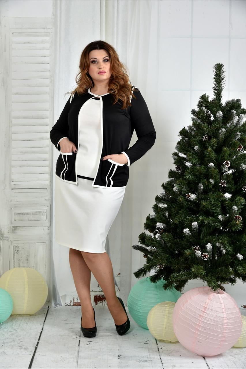 Женский костюм 0391-2-1 черный жакет + белая юбка размер 42-74