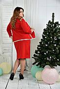 Женский костюм 0391-3-2 красный жакет + красная юбка размер 42-74, фото 3