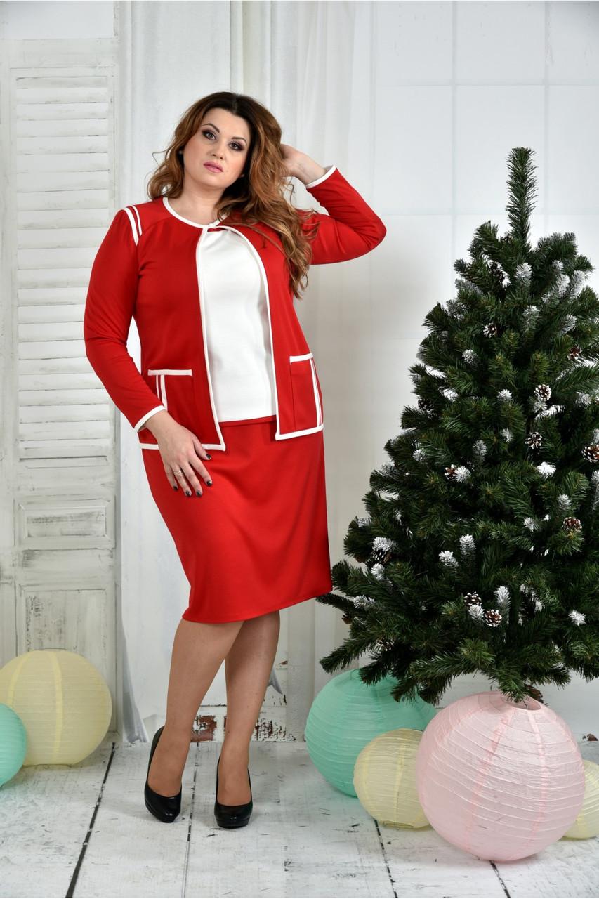 Женский костюм 0391-3-2 красный жакет + красная юбка размер 42-74