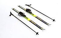 Лыжи беговые в комплекте с палками Zelart SK-1883-90A Желтый