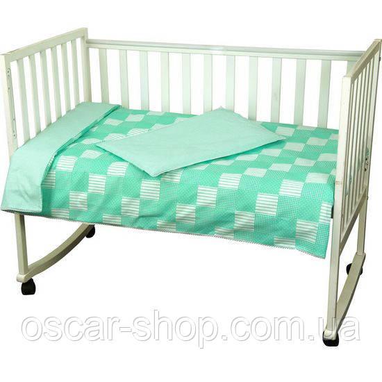 Детское постельное белье Руно Клеточка зеленое (932Клеточка_Зеленый)