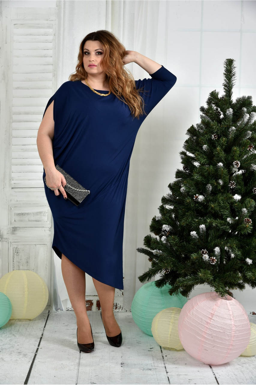 Женское вечернее платье 0387 цвет синий размер 42-74 / для полных девушек
