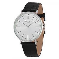 Мужские  часы Patek Philippe - Slim, цвет сталь с белым циферблатом