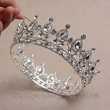 Круглая корона в серебре с прозрачными камнями, диадема, тиара, высота 5,5 см.