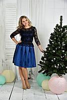 Женское нарядное вечернее платье 0386 цвет синий размер 42-74
