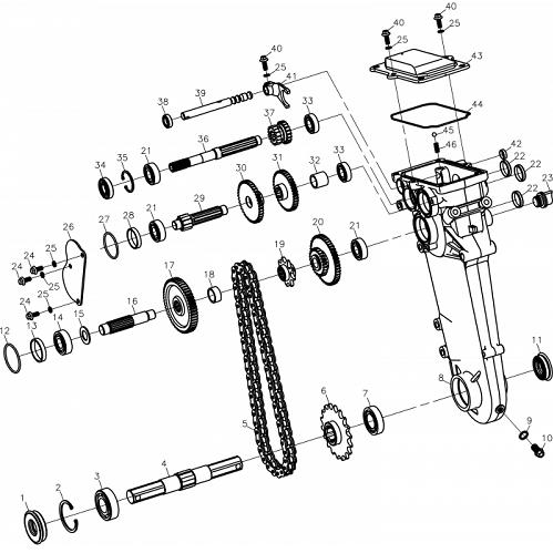 Трансмісія і редуктор до культиваторів Oleo-Mac