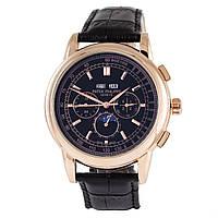 Мужские часы Patek Philippe perpetual calendar - цвет золотой с черным циферблатом