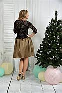 Женское нарядное вечернее платье 0386 цвет горчица размер 42-74 / батальное, фото 4