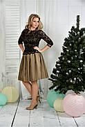 Женское нарядное вечернее платье 0386 цвет горчица размер 42-74 / батальное, фото 2