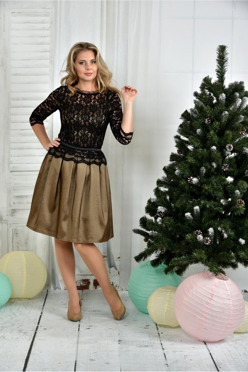Женское нарядное вечернее платье 0386 цвет горчица размер 42-74 / батальное
