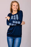 """Футболка с вышивкой женская """"Орнамент"""" синяя длинный рукав"""
