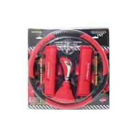 Набор 5в1 (оплетка руля+чехол кулисы КПП+ручка КПП+2 накладки на ремень безопасности) красный