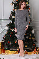 Платье женское из ткани жаккард серого цвета