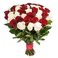 """Композиция из 51 красной и белой роз """"Юнона"""""""