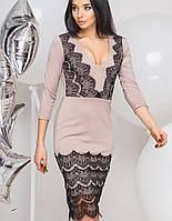 Трикотажное платье с кружевом   2074 br