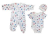 Трикотажный комплект на новорожденного (боди,человечек,шапочка) (56 рост), кулир